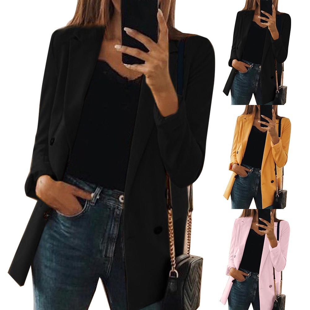 Women Solid Color Turndown Collar Long Sleeve Tailored Suit Jacket CoatBlazer