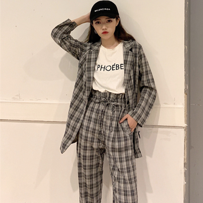 New 2020 Spring Elegant Women Plaid Blazers Pants Two Piece Sets Casual Single Button Fashion Female Suits Office Lady Work Wear