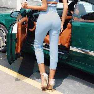Image 3 - InstaHot Casual High Waist Pencil Pants Women Belt Ankle Length Office Lady Pants Blue Zipper Suit Trousers Straight Leg Sashes