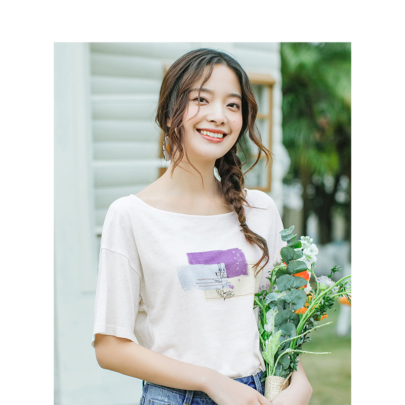 INMAN 2020 Summer New Arrival Linen-cotton Round Collar Dropped Shoulder Sleeve Loose Printed T-shirt