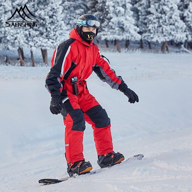 SAENSHING Winter Ski Suit Men One Piece Snow Jumpsuit Waterproof Thick Warm Snowboard Jacket Snowboarding Pants Mountain Skiing