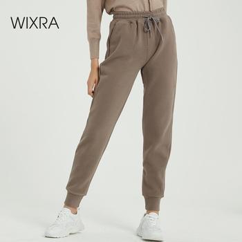Wixra Women Casual aksamitne spodnie jesienne zimowe damskie grube wełniane spodnie odzież damska sznurowane długie spodnie tanie i dobre opinie COTTON Poliester Pełnej długości NB-447 Solid High Street Harem spodnie Plisowana REGULAR Sznurek Wysoka Kobiety Kieszenie