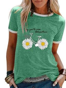 green daisy flower bicycle print women tshirt