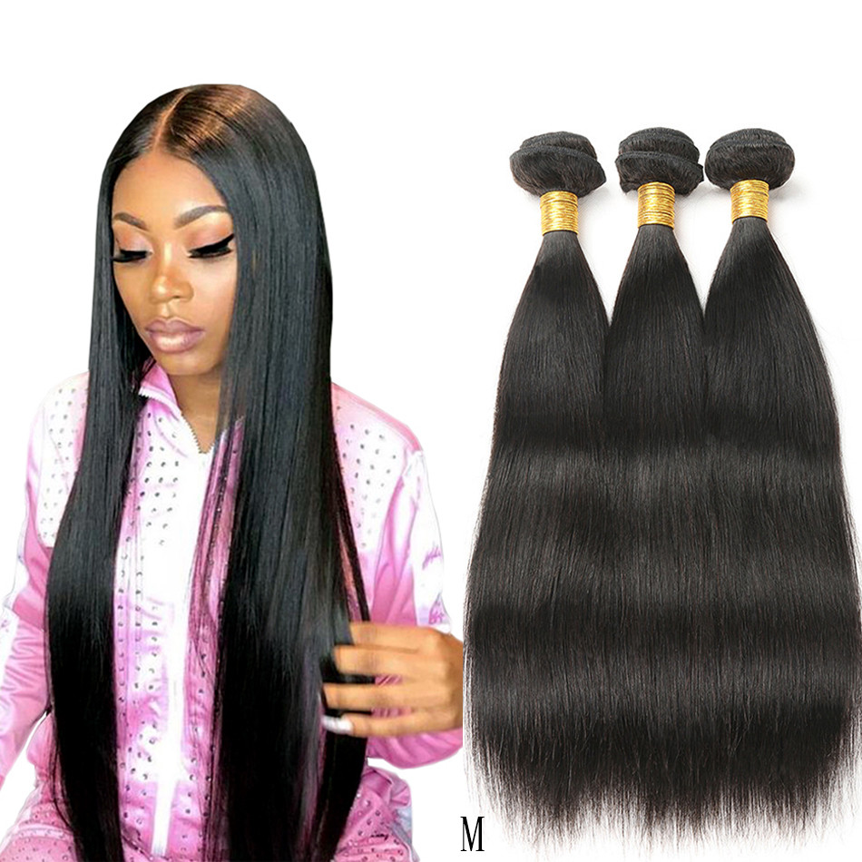 Peruvian Hair Bundles Straight Human Hair Bundles MIHAIR Remy Hair Extensions 8-30inch Natural Black Color Double Weft