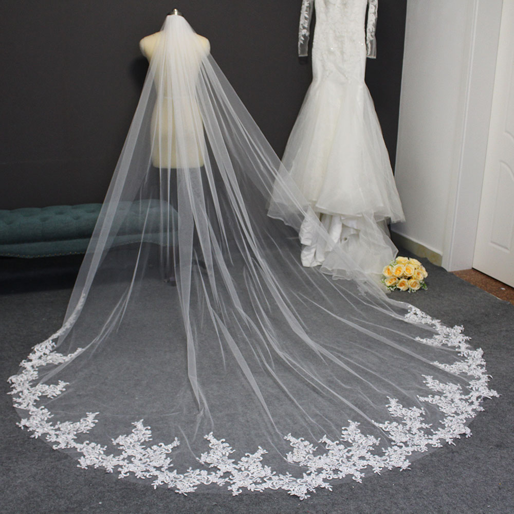 Long Lace Appliques Wedding Veil With Comb 3 Meters Cathedral Bridal Veil One Layer White Ivory Veil Wedding Accesories