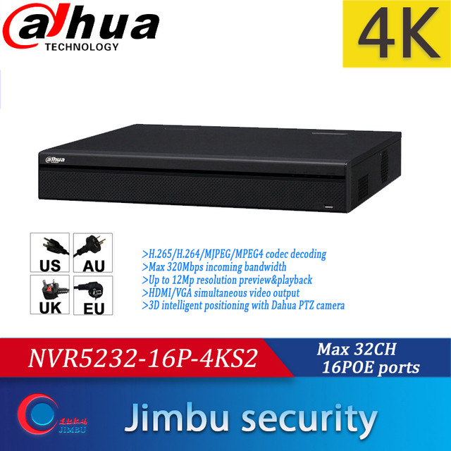 Dahua NVR 32CH NVR5232 16P 4KS2 1U Pro Network Video Recorder 4K&H.265 Up to 12Mp resolution preview&playback with 16POE ports