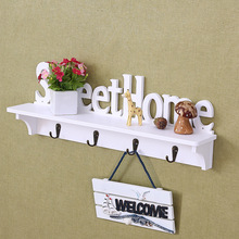 sobuy fhk09 sch metal wall mounted letter rack and key holder wall coat rack wall shelf unit with 6 hooks European Creative Wooden Wall Hook Door Mounted Shelf Holder Clothes Hat Coat Hook Key Home Porch Wall Organizer Rack Mounted