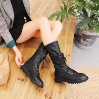 REVT 2020 new style womens Genuine Leather fashion Martin boots Cowhide leather mid boots Motorcycle boots womens shoes