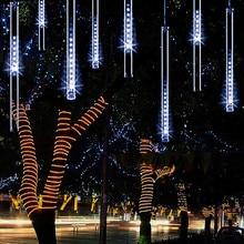 White Color Meteor Shower Rain Lights Waterproof String for Wedding Christmas Xmas Tree Party Garden String Light Outdoor 8 Tube цена 2017