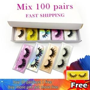 20/30/40/50/70/100/Paris Whoslase Mink Eyelashes Vendor Makeup Volume 3D Faux Mink Lashes In Bulk Natural False Eyelashes Set