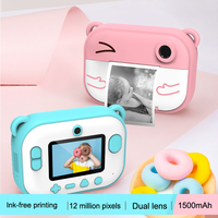 Cute HD kids Instant Thermal Printer Camera Dual Lens with LED Flash IPS Screen Video Children Outdoor Gift DIY Sticker Photo