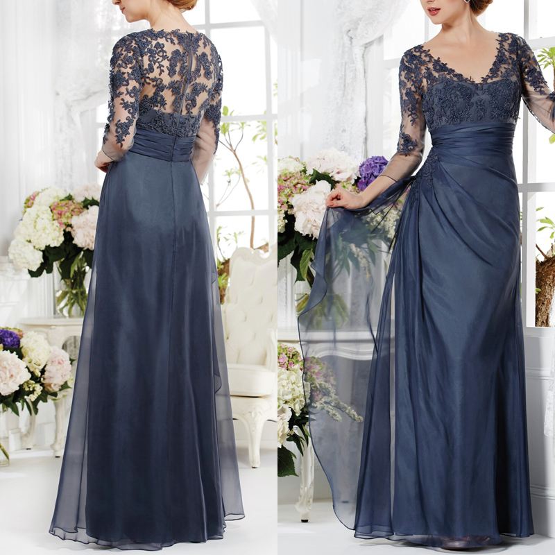 Elegant Deep V-Neck Gray Chiffon Long Mother Of The Bride Pant Suits Luxury Pleat Lace Mother Of The Bride Dresses 2016