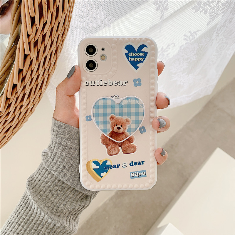 3D Cartoon Bear Grip Stand Holder Phone Case For Iphone 12 Mini 11 Pro Max Plus Animal Soft Silicone Cover Slim Fundas Capa