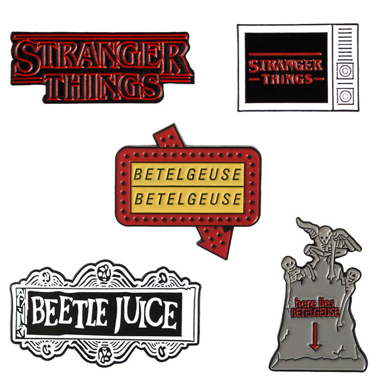 TV show Stranger Things Movie Beetlejuice Enamel Pins Classic Brooches Badges Bag Clothes Lapel Pins Jewelry Gifts For Friends