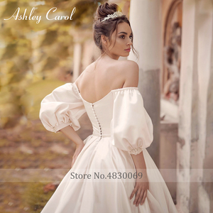 Image 2 - Ashley Carol Satin A Line Wedding Dress 2020 Puff Sleeve Beading Crystal Sweetheart Bride Dresses Button Vintage Bridal Gowns
