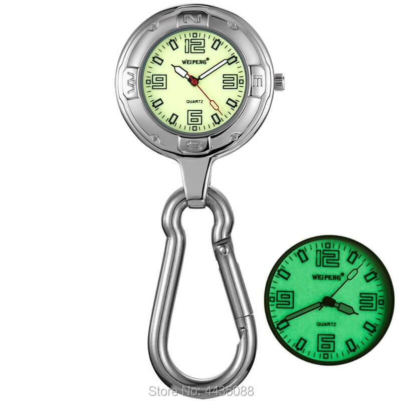 Silver Clip-On Carabiner Pocket Watch Keychain Luminous Quartz Belt Clip Waist Fob Watch Backpack Outdoor Sport Men Women Clock