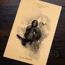 John Snow Wolf familia hielo y fuego de Juego de tronos clásico póster Vintage Retro lona DIY arte de la pared de Casa carteles para Bar Decoración