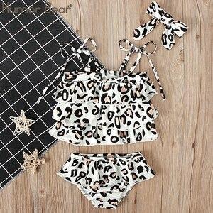 Humor Bear/Летняя одежда для девочек Купальник с леопардовым принтом + Тюрбан, комплект из двух предметов, белые комплекты для маленьких девочек ...