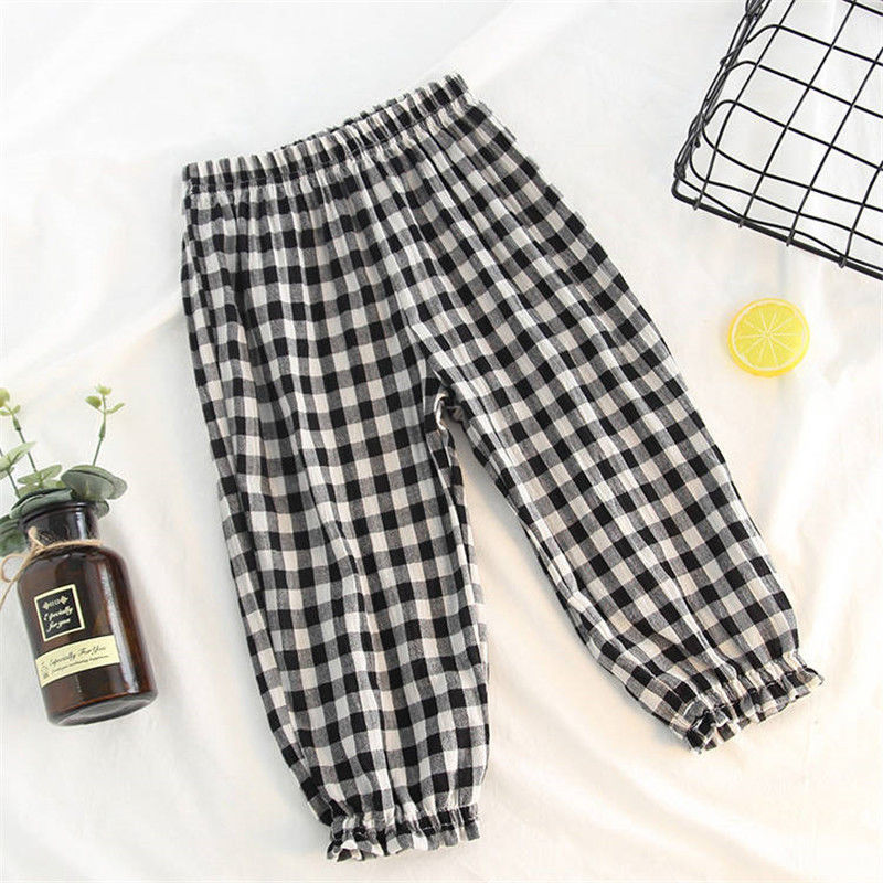 VIDMID Baby kids Boys girls cotton plaid pants trousers spring summer baby kids children casual fashion pants trousers P2082 3