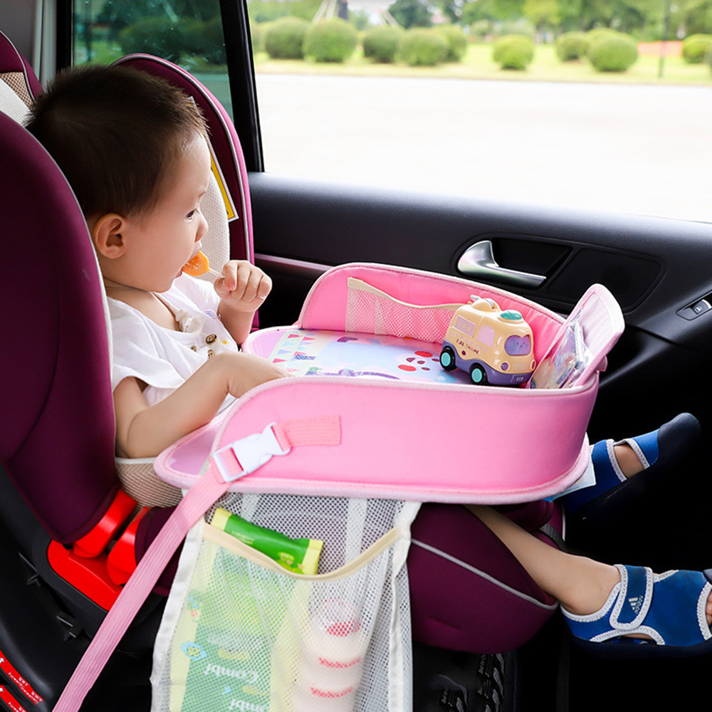 HQ Multi-function Car Safety Seat Pink For Children Painting Table Plate Eating Chair Stroller Accessories
