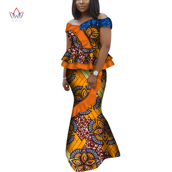 African Short Sleeves Print Tops and Skirt Sets for Women Bazin Riche African Clothing 2 Pieces Skirt Set Off Shoulder WY6802