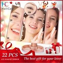 22 LED Touch Screen Specchio Per Il Trucco 1X 2X 3X 10X Ingrandimento Specchi 4 in 1 Tri Piegato Specchio Del Desktop luci Salute Bellezza Strumento