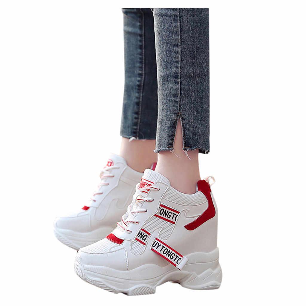 CHAMSGEND Plattform Schuhe Frauen Stiefel Frühling Sport Ultra-licht Höhe Zunehmende Boot WomanThick Sohlen Spitze-up High- schuhe mit hohen absätzen