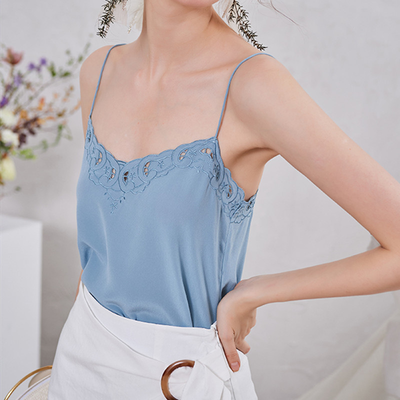 Women's Silk Embroidery Floral Camis Solid Color Hollow out Sexy Tank Tops 2020 Summer New