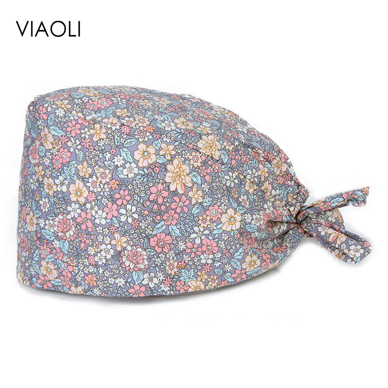Viaoli Floral Print Surgical Caps Pet Doctor Hat Scrubs Hat Dentist Hat Print Girl Hat Nurse Accessories Wholesale Prices Women