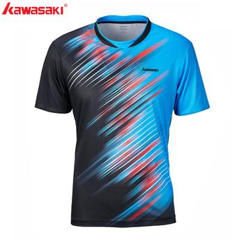 Kawasaki Badminton T-Shirt męski tenis szybkoschnący trening z krótkim rękawem oddychające koszule męskie ST-S1128 tanie i dobre opinie O-neck Poliester Pasuje prawda na wymiar weź swój normalny rozmiar Blue 100 Polyester M~4XL Sportswear Short-sleeved Shirt