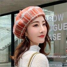 Модный шерстяной берет, женские шапки, высокое качество, утолщенная шапка для художников, женская вязаная винтажная осенне-зимняя шапка французского художника