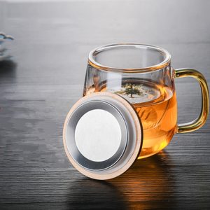 Image 2 - البورسليكات الزجاج الشاي قدح مزود بمصفاة كوب مع شفافة تصفية مقبض غطاء من البامبو غطاء ارتفاع درجة الحرارة المقاومة زهرة فنجان الشاي