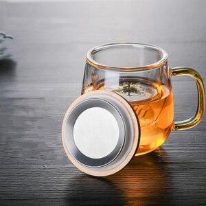 Image 2 - Borosilikat cam çay demlik kupa bardak şeffaf filtre kolu bambu kapak için yüksek sıcaklık dayanımı çiçek çay fincanı