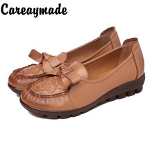 Careaymade-Autumn New genuine leather mothers single shoes low heel flat sole soft womens pure handmade shoes,Casual