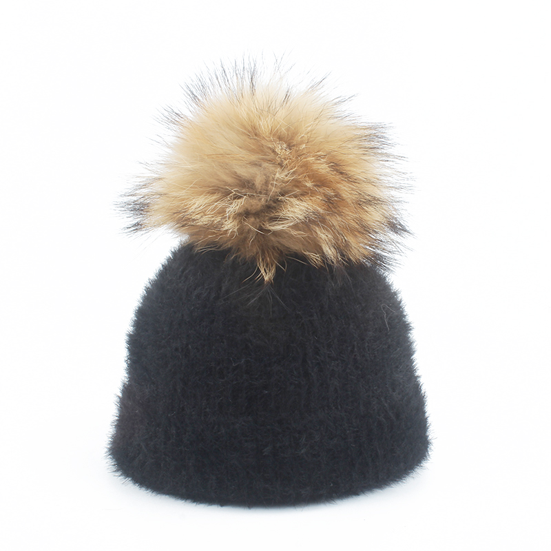 mink and real raccoon fur ball cap pompom winter hats for women girl 's hat knitted   beanie   cap parent-child pompon hat