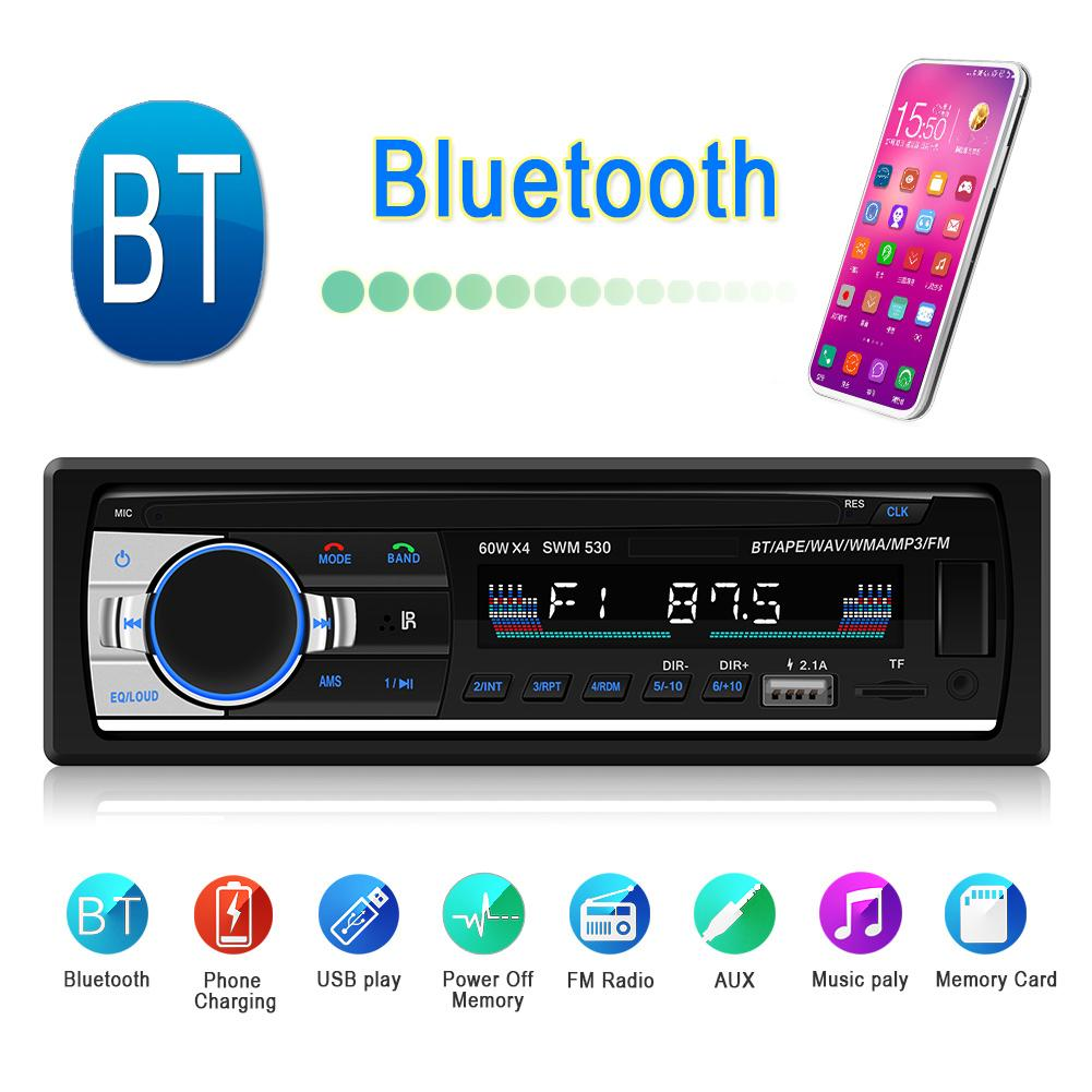 1Din SWM 530 LCD BT Music Player Car Stereo MP3 Audio Player Auto FM Radio U Disk AUX w/ TF Card Slot RCA 2USB Phone Charging image
