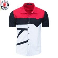 프레드 마샬 2020 새로운 패션 패치 워크 셔츠 남자 100% 코 튼 캐주얼 인쇄 셔츠 짧은 소매 색 블록 셔츠 탑스 558922