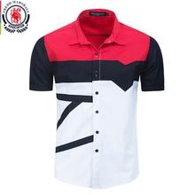 Fredd Marshall 2020 New Fashion Patchwork Shirt Men 100% Cotton Casual Printed Shirts Short Sleeve Color Block Shirt Tops 558922