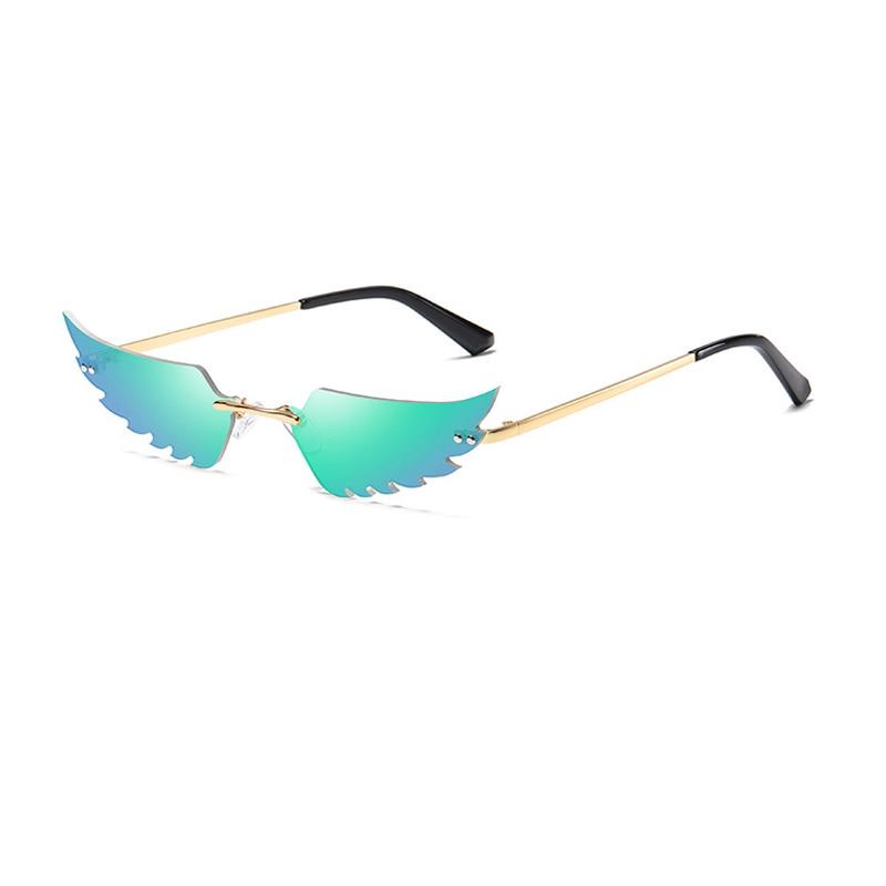 Wings Lens Sunglasses Women Metal Rimless Cat Eye Sun Glasses Mens Sunglasses Brand Designer Gafas Mujer 2020