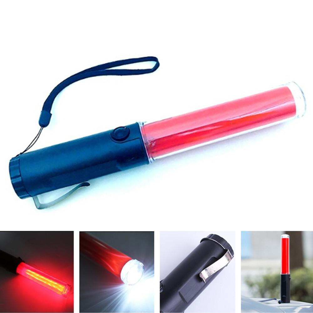 26cm Battery Powered Traffic Safety Flashlight Powerful LED Lamp Torch Lantern Traffic Police Equipment Lamp Red Baton Light