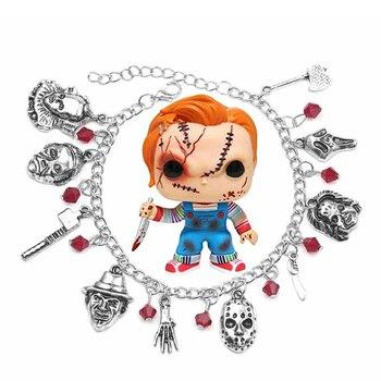 Chucky Face Stephen Kings Penny Wise Jason Charm Bracelet Halloween Jack Nightmare Mask Bangle Bracelet Horror Figure Wristbands 1