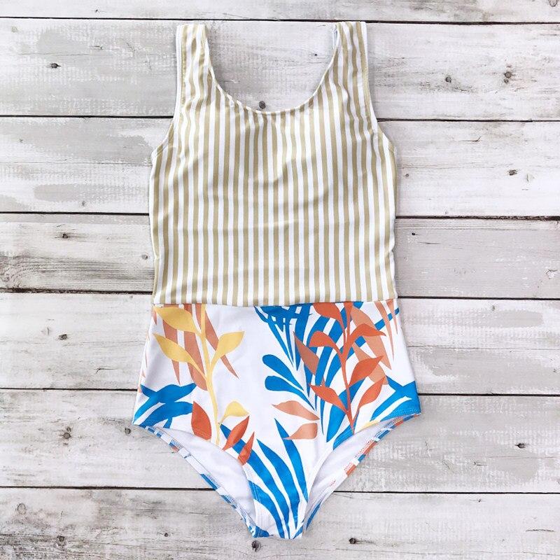 Striped Women One Piece Swimsuit High Quality Swimwear Printed Push Up Monokini Summer Bathing Suit Tropical Bodysuit Female
