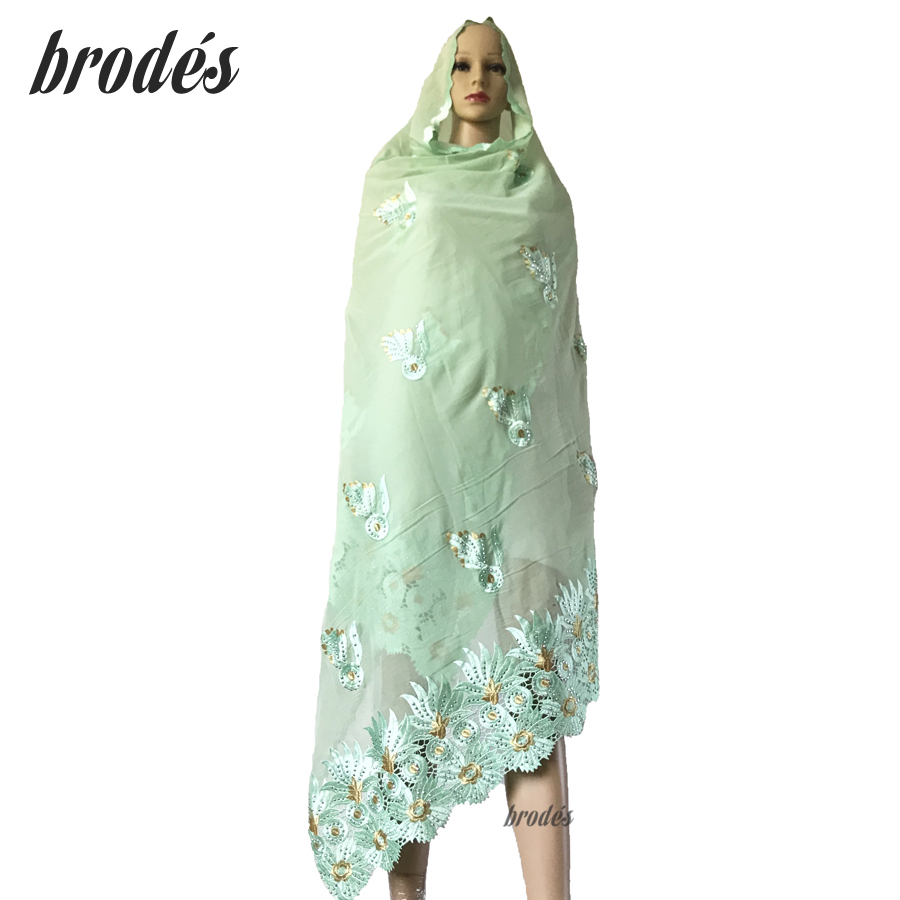 African Women Embroidered Scarfs 100% Cotton Big Scarf With Stones For Shawls Pray Scarf ON SALES