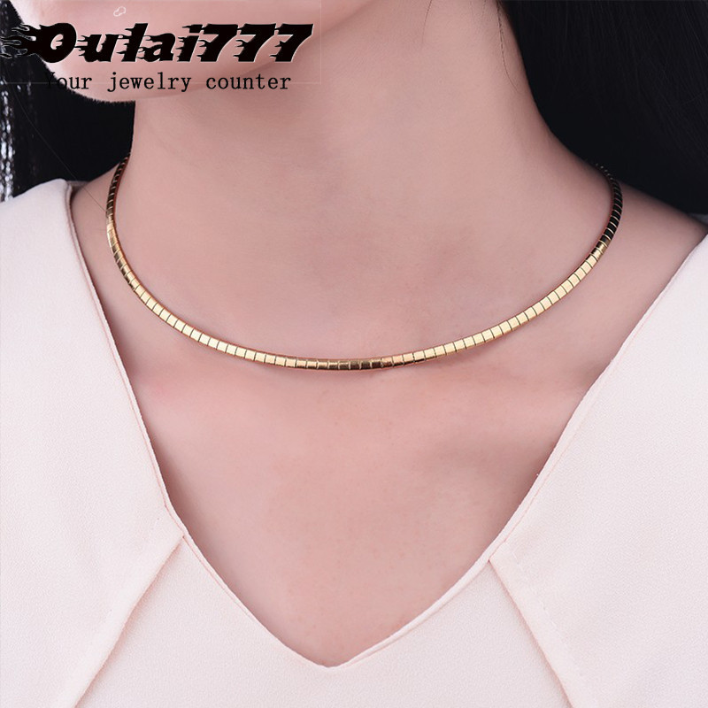 2019 wholesale women stainless steel necklaces chain gifts for lady female Gold chokers personalized gothic style flat necklace