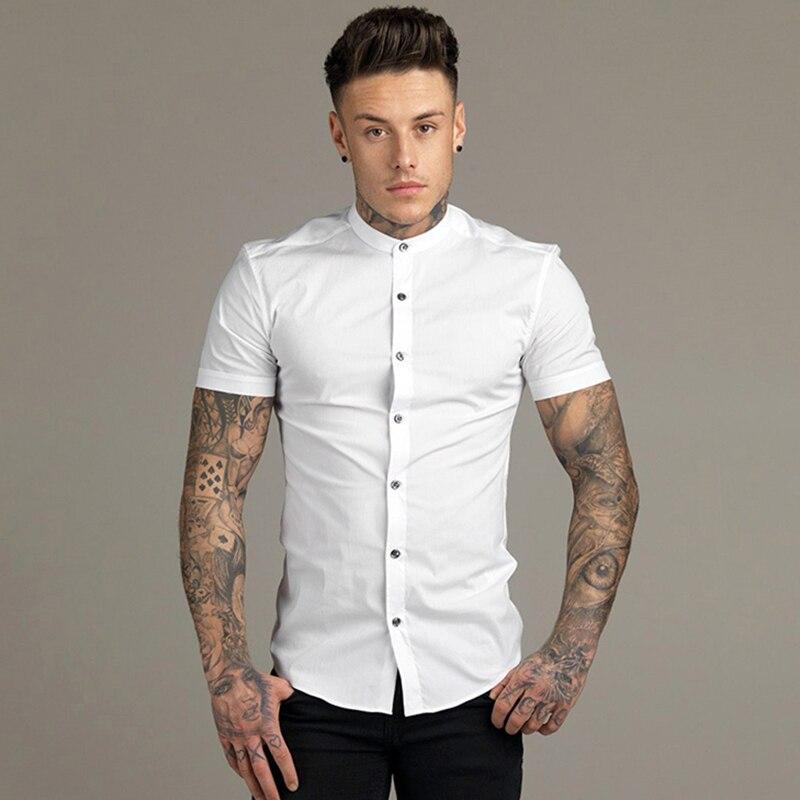 New Summer Men Fashion Short Sleeve Solid Shirt Slim Fit Male Social Business Dress Shirt Brand Mens Gym Fitness Sports Clothing