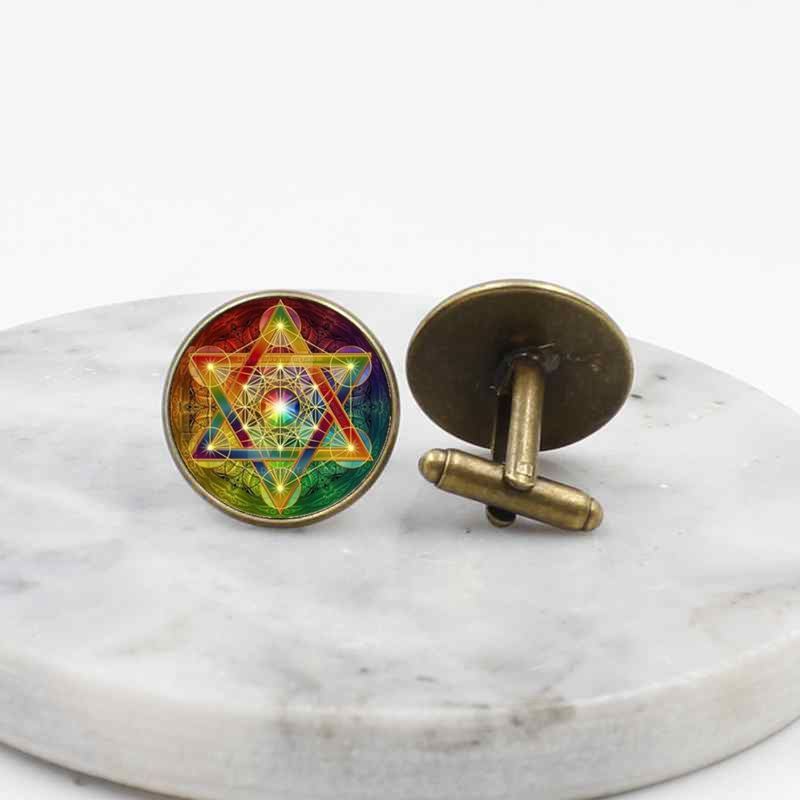 Religious geometric pattern glass cufflinks European and American men 39 s shirt accessories in Tie Clips amp Cufflinks from Jewelry amp Accessories