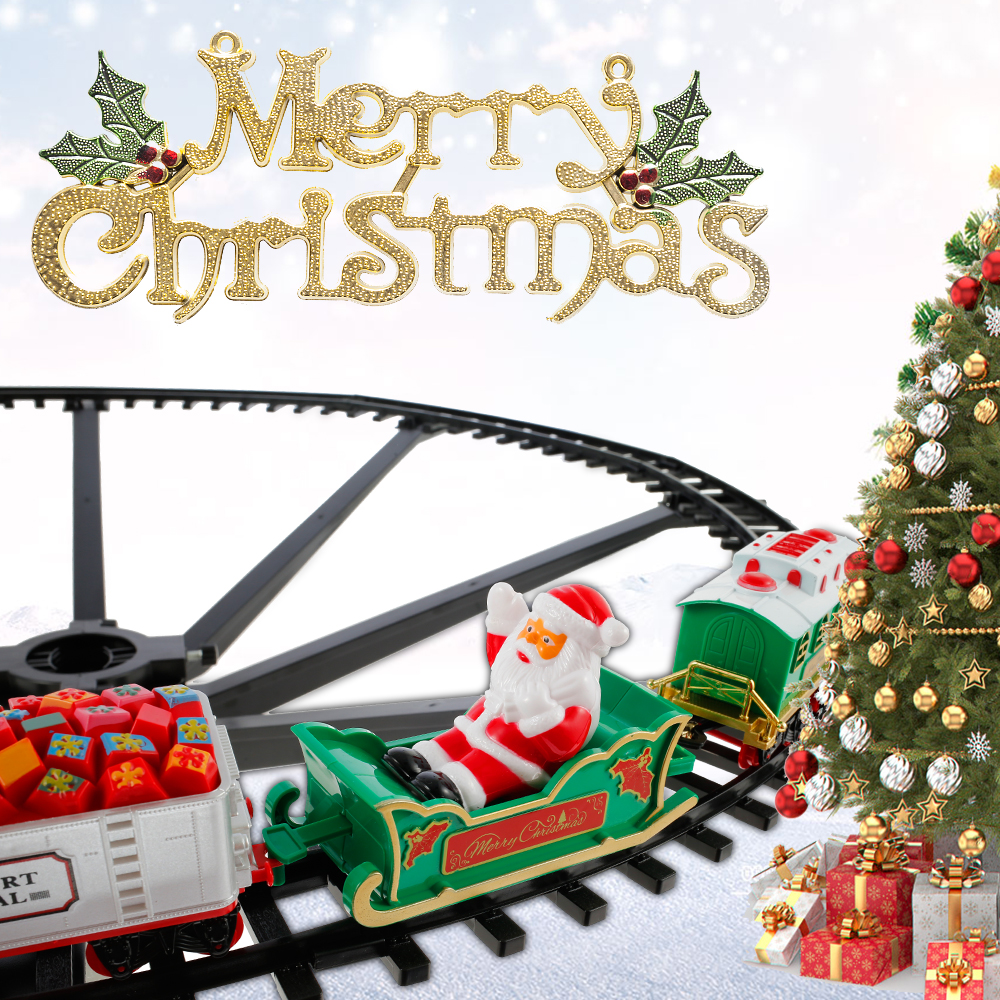 Рождественский Электрический Железнодорожный автомобиль, игрушечный поезд, Детский Электрический поезд, гоночный Дорожный транспорт, стр...