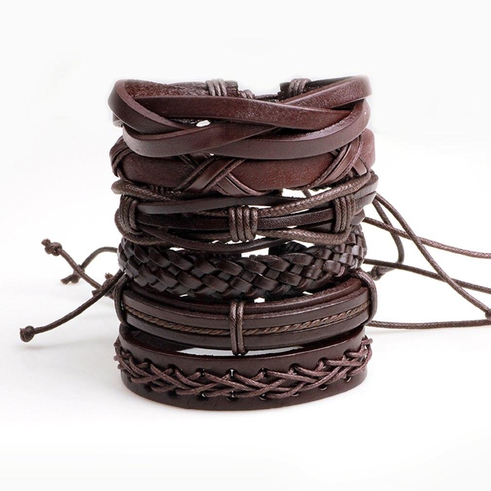 6pcs/lot Handmade Braided Men Multilayer Casual Bracelets Bangles Black PU Leather Men's Bracelet Stylish Jewelry Accessories