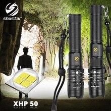 Torche Super lumineuse XHP50 tactique lampe de poche LED, 3 Modes d'éclairage Zoomable, avec batterie 18650, adaptée aux aventures en plein air