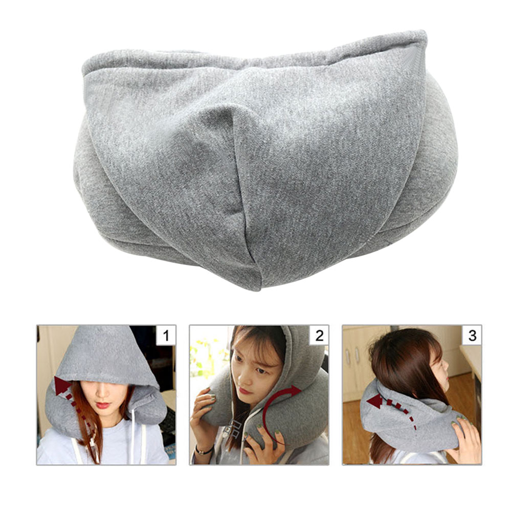 Portable U-Shaped Pillow Drawstring Microbeads Creative Soft Hooded Adults Neck Pillow For Travel Airplane Neck Pillow A21